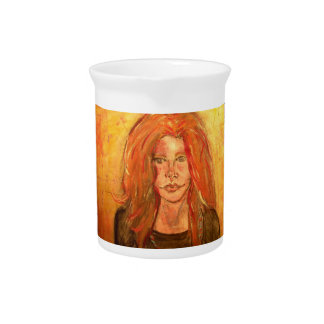 pintura del goteo del chica del hippie jarron
