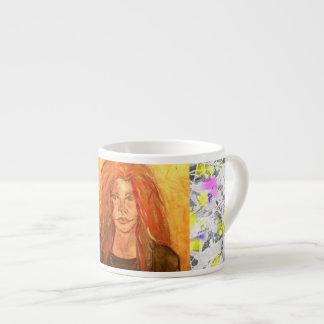 pintura del goteo del chica del hippie tazas espresso