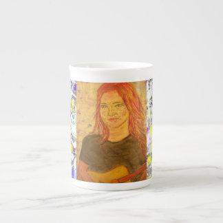 pintura del goteo del chica y de la guitarra taza de porcelana
