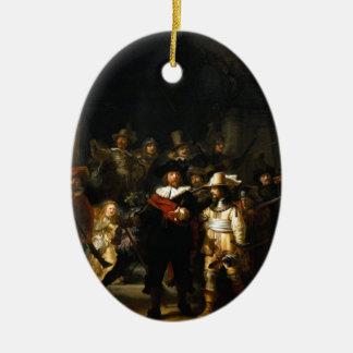 Pintura del guardia nocturna de Rembrandt Van Rijn Adorno Ovalado De Cerámica