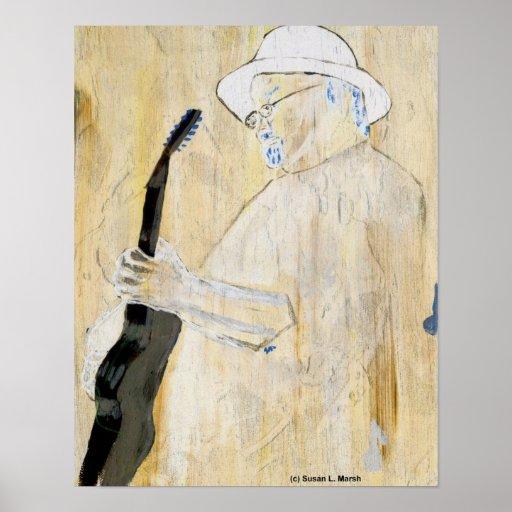 Pintura del guitarrista de los azules en naranja y poster