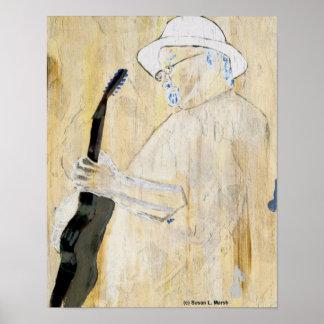 Pintura del guitarrista de los azules en naranja y póster