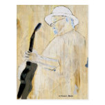 Pintura del guitarrista de los azules en naranja y postal