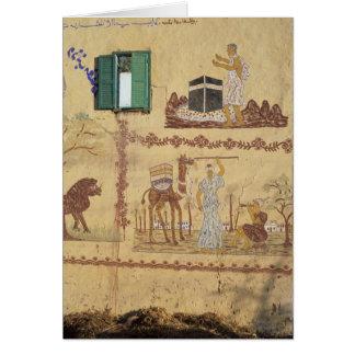 Pintura del jadye o de Umra en la pared del pueblo Tarjeta De Felicitación