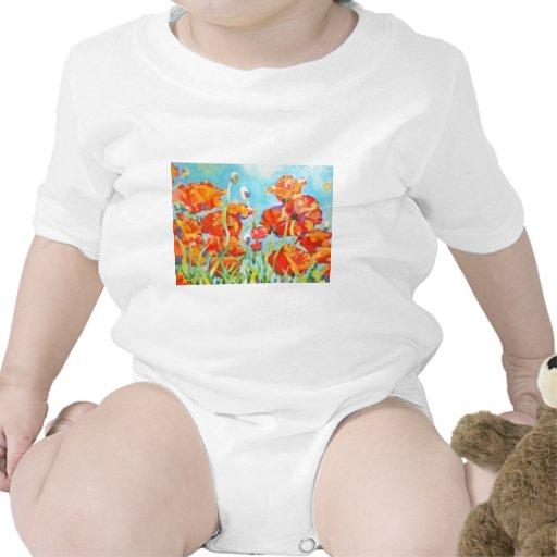 Pintura del jardín de la amapola traje de bebé