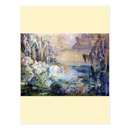 Pintura del lago swans postal