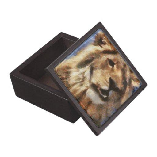 Pintura del león cajas de recuerdo de calidad