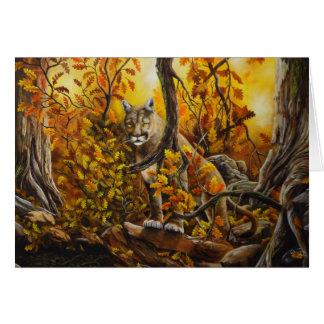 Pintura del león de montaña en productos adaptable tarjeta de felicitación