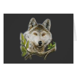 Pintura del lobo con apenas la cara tarjeta de felicitación