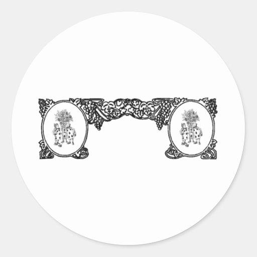 Pintura del marco del vintage de los rosas etiqueta redonda