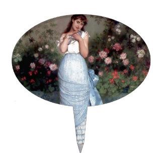 Pintura del mascota del pájaro del chica decoración para tarta
