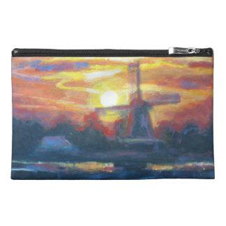 Pintura del molino de viento de la puesta del sol