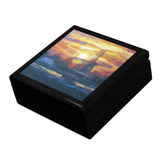 Pintura del molino de viento de la puesta del sol caja de joyas