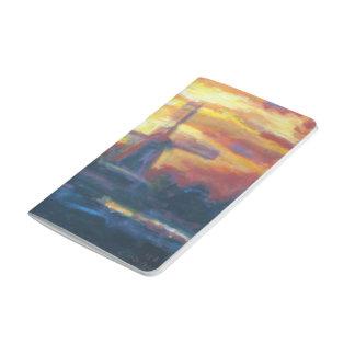 Pintura del molino de viento de la puesta del sol cuaderno