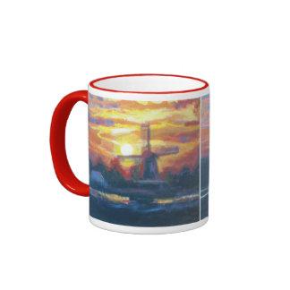 Pintura del molino de viento de la salida del sol taza de dos colores