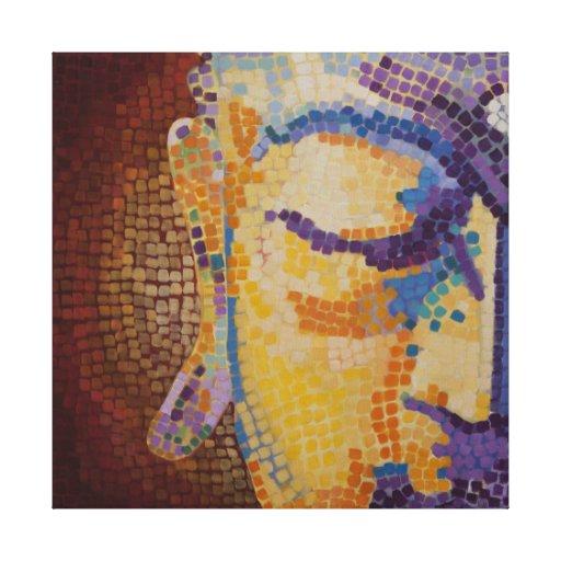 Pintura del mosaico de Buda Impresión De Lienzo