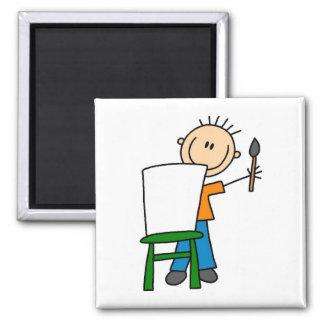 Pintura del muchacho imán de frigorífico