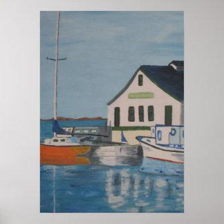 Pintura del muelle del barco póster