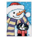 Pintura del muñeco de nieve de la nariz del gato y tarjetas