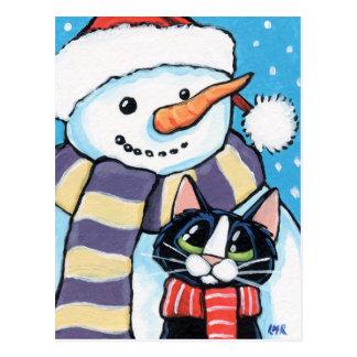 Pintura del muñeco de nieve de la nariz del gato y tarjeta postal