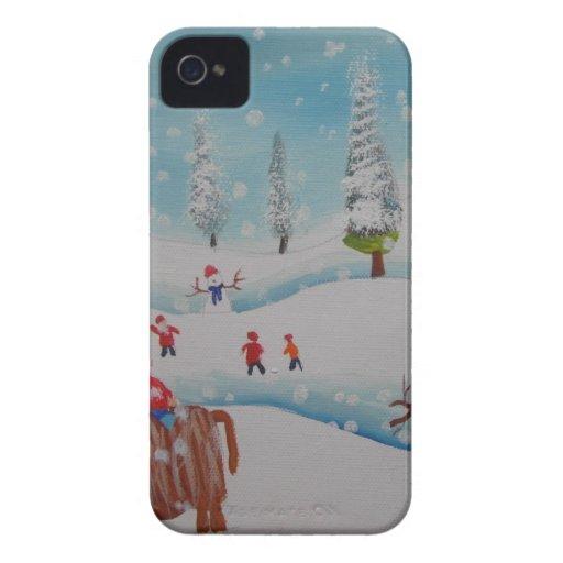 Pintura del muñeco de nieve de la vaca de la iPhone 4 Case-Mate coberturas