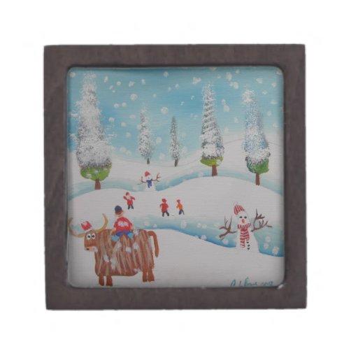 Pintura del muñeco de nieve de la vaca de la monta caja de regalo de calidad