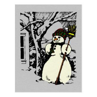 Pintura del muñeco de nieve del invierno postal