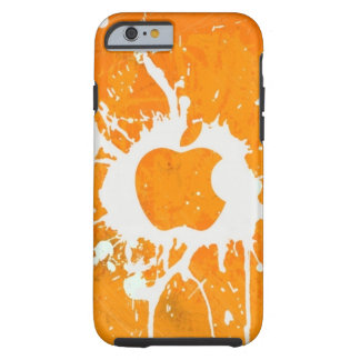 Pintura del naranja del logotipo de la manzana del funda para iPhone 6 tough