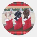 Pintura del navidad de los perritos del labrador pegatina redonda