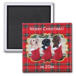 Pintura del navidad de los perritos del labrador r imán cuadrado