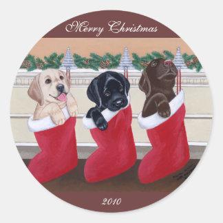 Pintura del navidad de los perritos del labrador r etiquetas