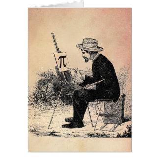 Pintura del número del pi tarjeta de felicitación