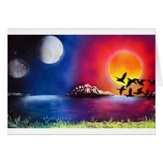 Pintura del océano de la noche y del día del arte tarjeta de felicitación