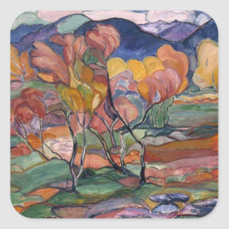 Pintura del otoño pegatina cuadrada