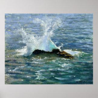 "Pintura del paisaje marino: ""Drama de la onda "" Posters"