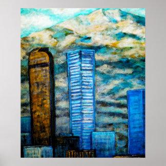Pintura del paisaje urbano de Denver, posters de