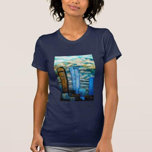 Pintura del paisaje urbano de Denver, ropa de la b Camiseta