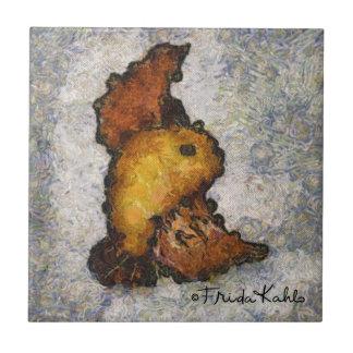 Pintura del pájaro del Monet-Estilo de Frida Kahlo Azulejo Cuadrado Pequeño