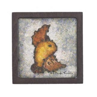 Pintura del pájaro del Monet-Estilo de Frida Kahlo Cajas De Recuerdo De Calidad