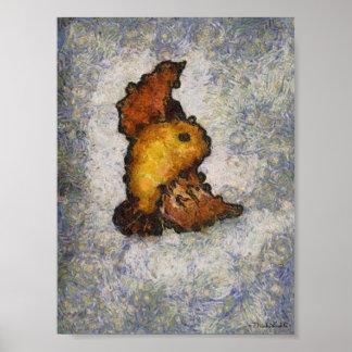 Pintura del pájaro del Monet-Estilo de Frida Kahlo Impresiones