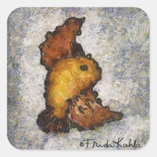 Pintura del pájaro del Monet-Estilo de Frida Kahlo Pegatina Cuadrada