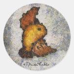 Pintura del pájaro del Monet-Estilo de Frida Kahlo Pegatina Redonda