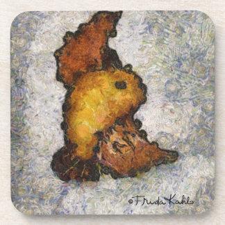 Pintura del pájaro del Monet-Estilo de Frida Kahlo Posavasos De Bebidas