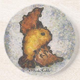 Pintura del pájaro del Monet-Estilo de Frida Kahlo Posavasos Cerveza