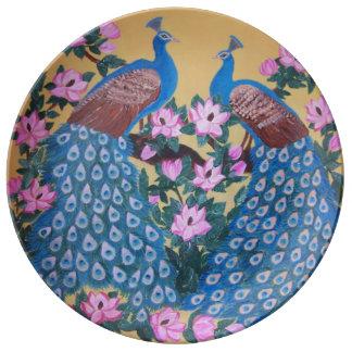 Pintura del pájaro y de las magnolias de Paon del Plato De Porcelana