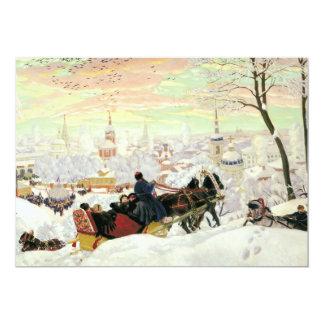 Pintura del paseo del trineo invitación 12,7 x 17,8 cm