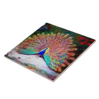 Pintura del pavo real del vintage azulejo cuadrado grande