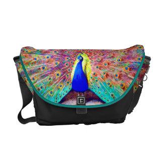 Pintura del pavo real del vintage bolsa messenger