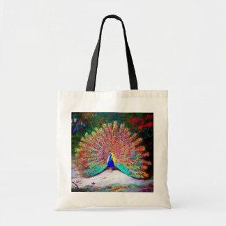Pintura del pavo real del vintage bolsa tela barata