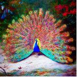 Pintura del pavo real del vintage esculturas fotográficas